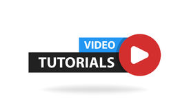 Online video tutorials education button. Play lesson concept. Vector illustration.  Stock Photography