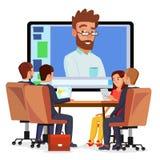 Online Videoconferentievector Mens en Praatje De directeur communiceert met personeel Webinar Commerciële Vergadering, Overleg royalty-vrije illustratie