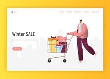 Online-vinterSale illustration för att landa sidan, man som gör ferieköp som skjuter den shoppa vagnen med gåvor vektor illustrationer