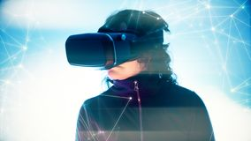Online virtual reality games, new digital technology virtual fun stock photography
