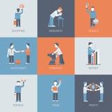 Online vlakke vector het pictogramreeks van het bedrijfs het winkelen mensenconcept Stock Foto