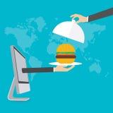Online Voedsellevering, vector Stock Fotografie