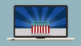 Online votes in the US Presidential Election. Votes being cast in the USA election oline royalty free illustration