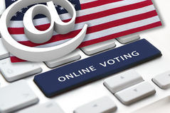 Online voting. Concept with usa flag on background Royalty Free Stock Photos