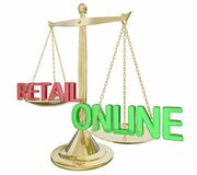 Online Vs Retail Gold Scale Words vector illustration