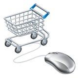 Online wózek na zakupy mysz Zdjęcie Royalty Free