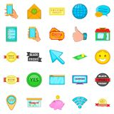 Online walk icons set, cartoon style. Online walk icons set. Cartoon set of 25 online walk vector icons for web isolated on white background Royalty Free Stock Photo