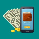Online wallet poster with smartphone. Paper banknotes and golden coins in cartoon style. Financial safety and cash security, modern e-commerce, internet Stock Images