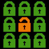 Online Web Security Concept Represented in 8-bit Pixel-art Padlo Stock Photography