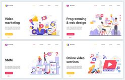 Free Online Web Services Technology Vector Illustrations With Flat Cartoon Social Media Marketing, Programming, Blogging And Royalty Free Stock Photo - 189649585