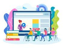 Online webinar, Colloquium, het concept van het teamwerk royalty-vrije illustratie