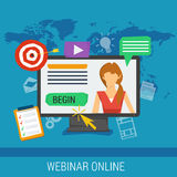 Online webinar, e-learning, professional lectures Royalty Free Stock Image