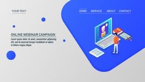 Online webinar, online videoonderwijs van een privé-leraar, online, isometrisch ontwerpconcept stock afbeelding