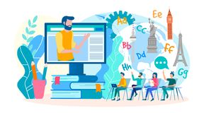 Online webinars, foreign language lessons online. Classes in foreign languages in the group online. Vector illustration. Training and webinars, foreign language vector illustration