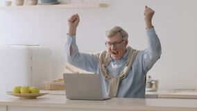 Online win concept. Happy positive senior man watching football match online on laptop and enjoying goal