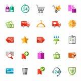 Online winkel, betaling, levering, kortingen, kleurrijke pictogrammen Royalty-vrije Stock Afbeelding