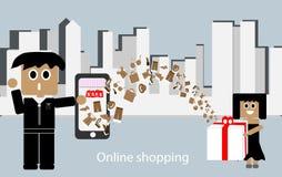 Online winkelend, gemakkelijke toegang tot een verscheidenheid van producten Klik enkel door het Internet-telefoonscherm U zult k stock illustratie