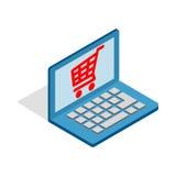 Online winkelend in laptop pictogram, isometrische 3d stijl Royalty-vrije Stock Fotografie