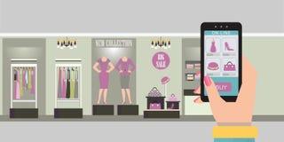 Online winkelend met smartphone op elektronische handelwebsite of app, Kledende binnenlandse winkel met producten op planken, Vec royalty-vrije illustratie