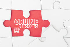 Online winkelend op raadsel Royalty-vrije Stock Foto