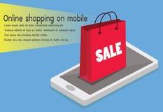 Online Winkelend Smartphone omgezet in Internet-winkel Concept mobiel royalty-vrije illustratie