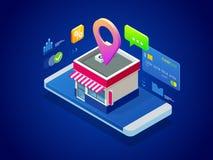Online Winkelend Smartphone omgezet in Internet-winkel Concept mobiele marketing en elektronische handel Royalty-vrije Stock Foto's