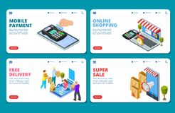 Online winkelend, verkoop, malplaatjes van het leverings de isometrische vectorlandingspagina stock illustratie