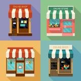 Online winkelspictogrammen Stock Afbeelding