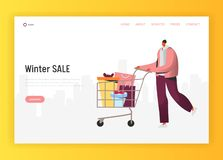 Online Winter Sale Illustration For Landing Page, Man Doing Holidays Purchases, Pushing Shopping Cart With Gifts Stock Photography