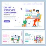 Online Workflow Management Website Online Info vector illustration