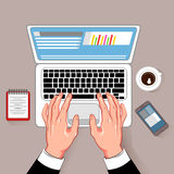 Online Working Laptop Composition. Online notebook working hands composition with coffee cup laptop and smartphone cartoon images on gray background vector Stock Photos