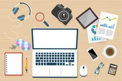 Online workplace camera laptop in top view royalty free illustration