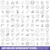 100 online workshop icons set, outline style Stock Image