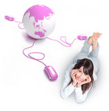 Online world connection, girl Royalty Free Stock Image