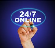 24/7 online. Writing word 24/7 online with marker on gradient background made in 2d software Royalty Free Stock Photo