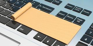 Online yoga. Exercise mat on computer keyboard. 3d illustration vector illustration
