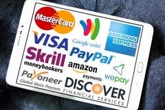 Online-Zahlungs-Dienstleistungen und Systemlogos und -vektor Stockbild