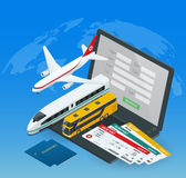 Online zakup lub rezerwacja bilety dla samolotu, autobusu lub pociągu, Podróż i kraje dookoła świata odtwarzanie ilustracji