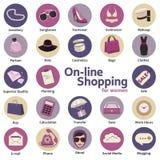 Online zakupy dla kobiet w pojęciu płaski projekt handel elektroniczny, internet, mobilny marketing, wektor Zdjęcie Royalty Free