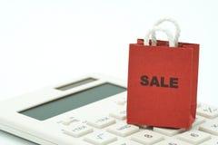 Online zakupy i torba na zakupy doręczeniowa usługa umieszczająca na w obraz stock