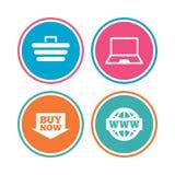 Online zakupy ikony Notatnika komputer osobisty, fura, zakup ilustracji