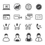 Online zakupy ikony ustawiać, Fotografia Royalty Free