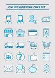 Online zakupy ikony ustawiać Zdjęcie Royalty Free