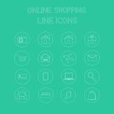 Online zakupy linii ikony Obraz Stock