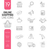 Online zakupy linii sieci ikony Cienki set Fotografia Royalty Free