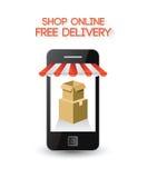 Online zakupy na smartphone ekranie ilustracja wektor