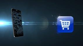 Online zakupy nad internetem Robię online zakupom na telefonie ilustracji