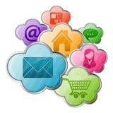 Online zakupy & Obłoczny Oblicza pojęcie Fotografia Royalty Free
