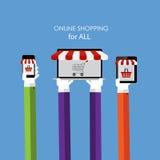 Online zakupy Płaski pojęcie dla sieć marketingu Obraz Royalty Free
