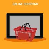 Online zakupy, pastylka z koszem, wektorowa ilustracja Obrazy Stock